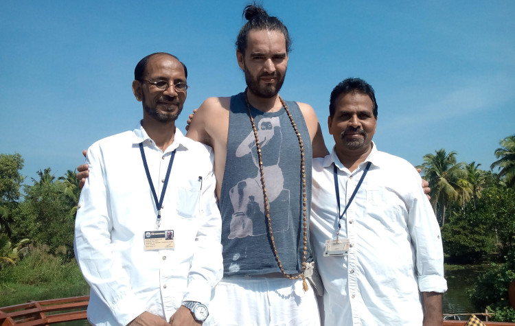 Russell Brand aboard the Vaikundam, Houseboat, Kerala, Backwater Cruise