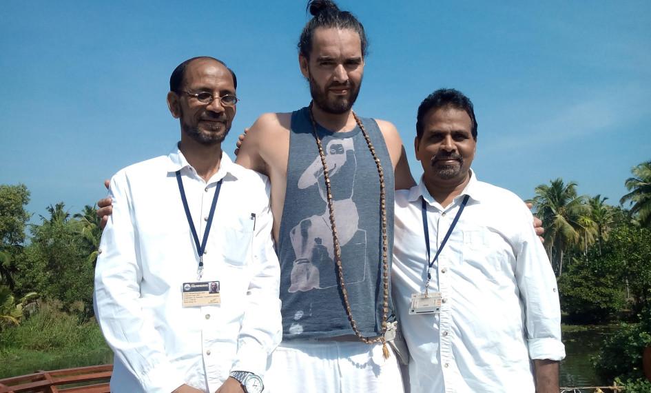 Russell Brand aboard the Vaikundam, Houseboat, Kerala, Backwater Cruise