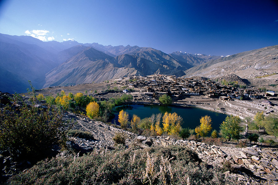 Nako Lake surrounded by Nako village